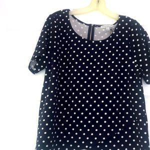 Navy polka doted